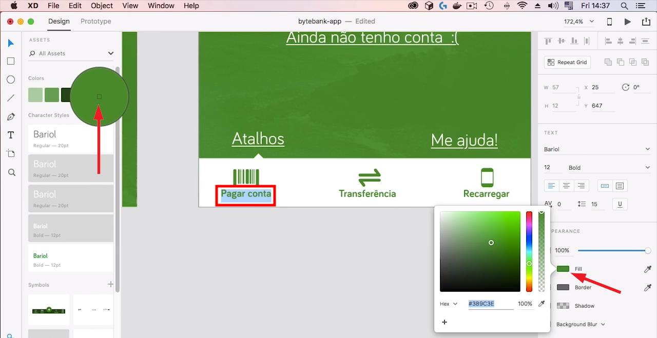 captura do adobe XD mostrando a seleção da cor verde