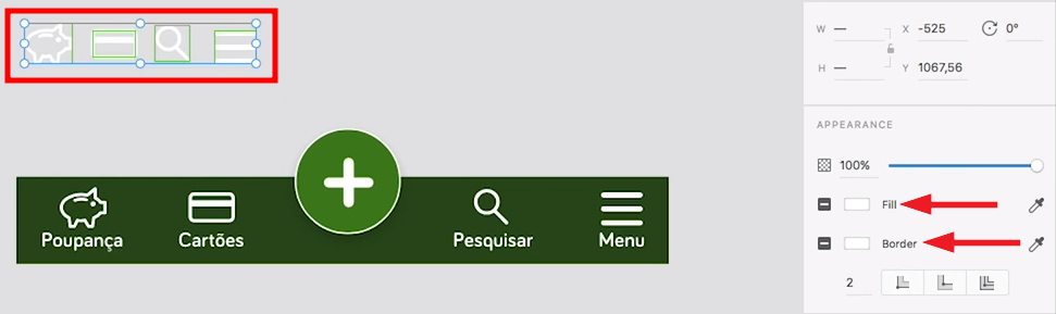 """à esquerda, ícones da nossa aplicação realçados em um retângulo. à direita, opções """"fill"""" e """"border"""" do adobe XD indicadas com setas"""
