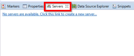 "aba ""Servers"" localizada na barra inferior do Eclipse"