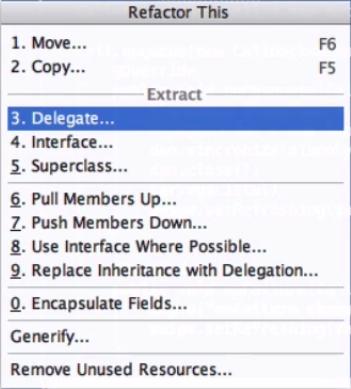 menu com a opção 3 - delegate