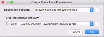 nomeando pacote na criação da classe com alt + enter