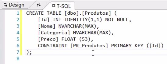 criando tabela T-SQL