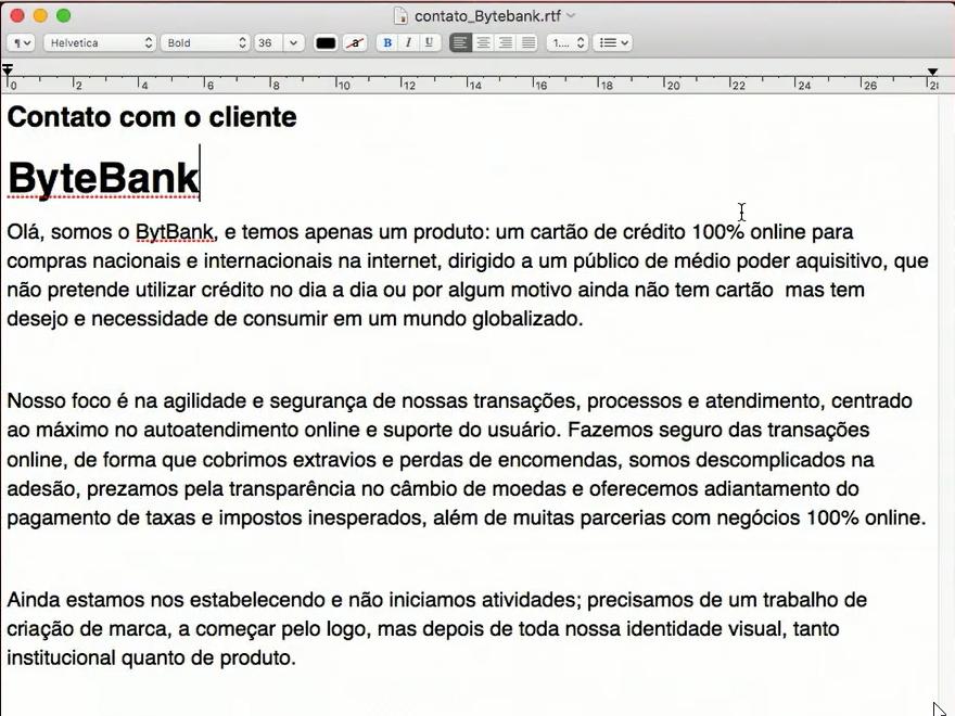 contato com o cliente bytebank