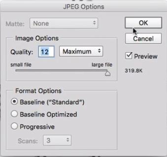 Jpeg options