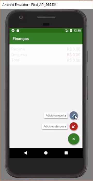 aparência da app, com botões no canto inferior direito indicando a possibilidade de adição de transações