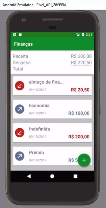 Além da receita, foi adicionada a despesa no painel superior de Resumo, onde está sendo somado uma despesa indefinida de R$ 200,00 mais uma despesa de almoço de R$ 20,50