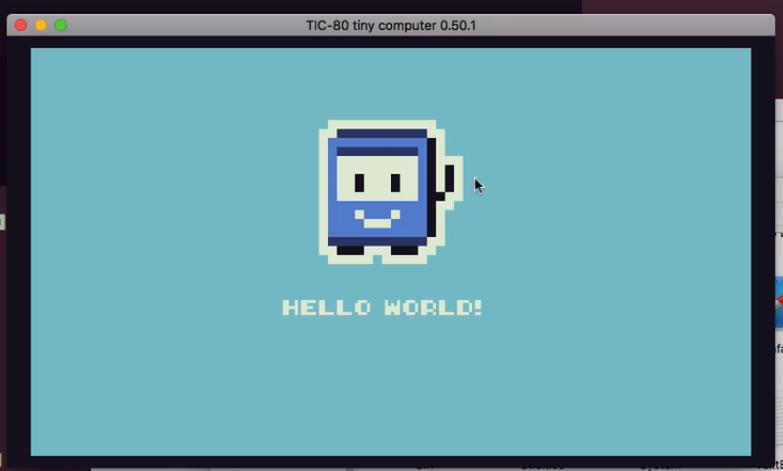 tela de hello world com ícone pixelizado de um retângulo roxo sorridente