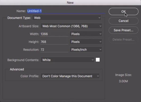 configuração básica do projeto, só mudamos o document type e o artboard size como foi explicado no texto