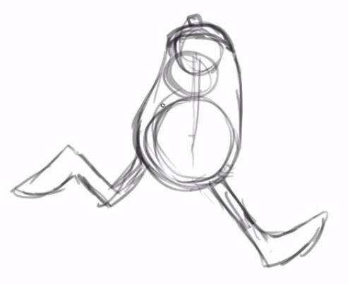 pernas do personagem, uma no chão fazendo a passada e a segunda dobrada no ar