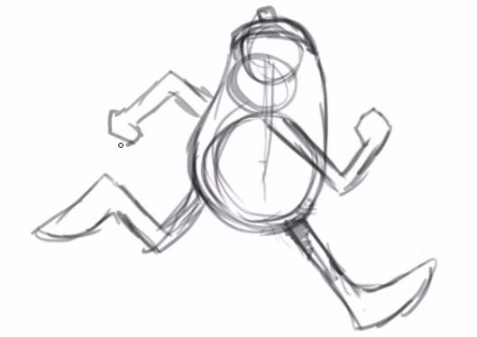 desenho dos braços flexionados do personagem