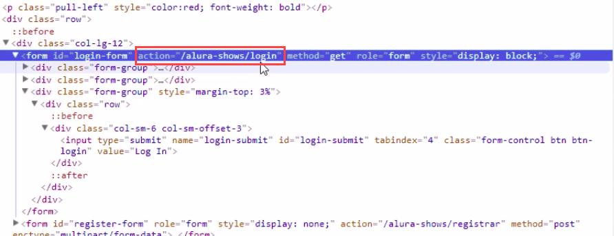 """contéudo da inspeção do html, action=""""/alura-shows/login"""""""