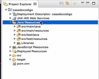 Visualização do projeto na perspectiva JavaEE