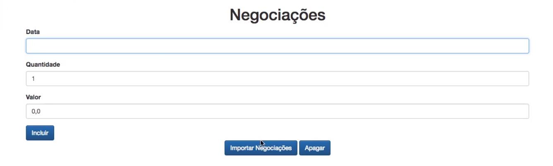 cadastro de Negociações aberto no navegador