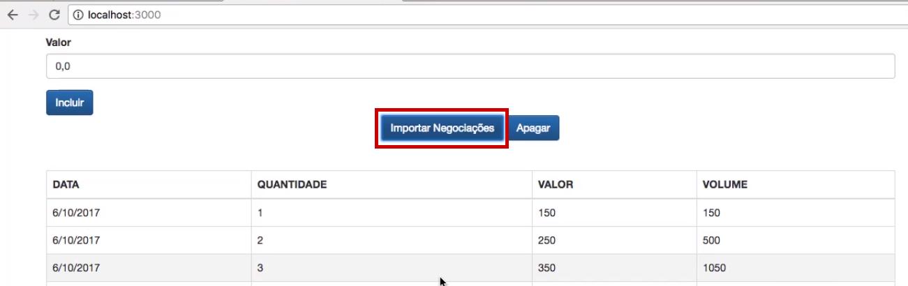 dados importados para uma tabela