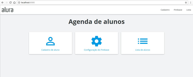 página inicial da agenda no servidor