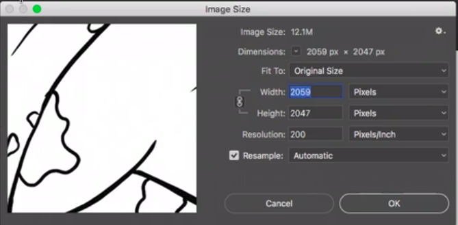 configurações atuais da imagem