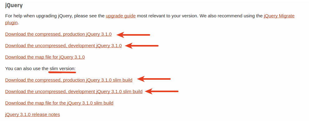 listagem das versões do jQuery para download no site