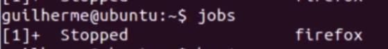 processos pausados com o comando jobs: firefox