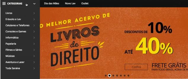 imagem com parte da pagina inicial do site da Saraiva
