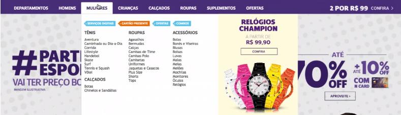 imagem com parte do pagina inicial do site da Netshoes