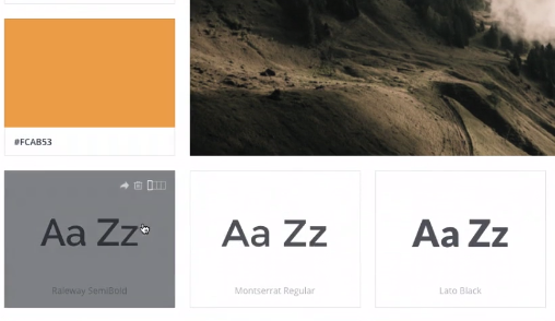 exemplo de um trecho do site com algumas opções de fontes e cores