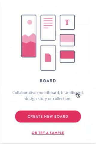 """escolhendo a opção """"Create a new board"""""""