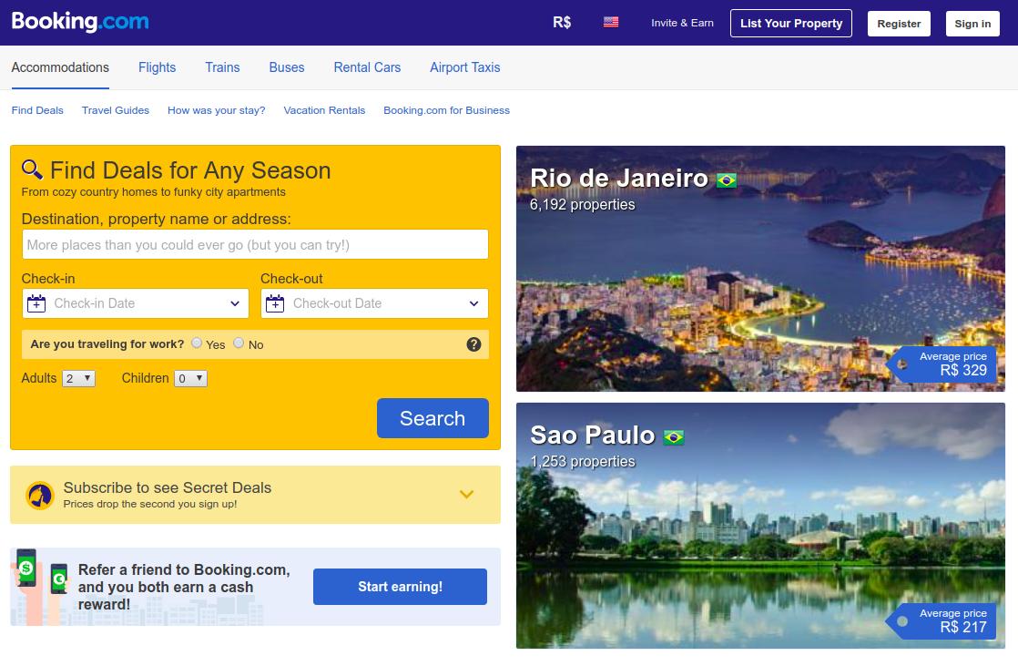 captura da home do site: booking.com