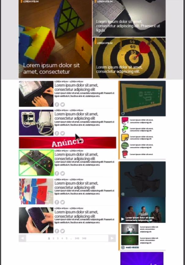 página inicial com todas as imagens adicionadas