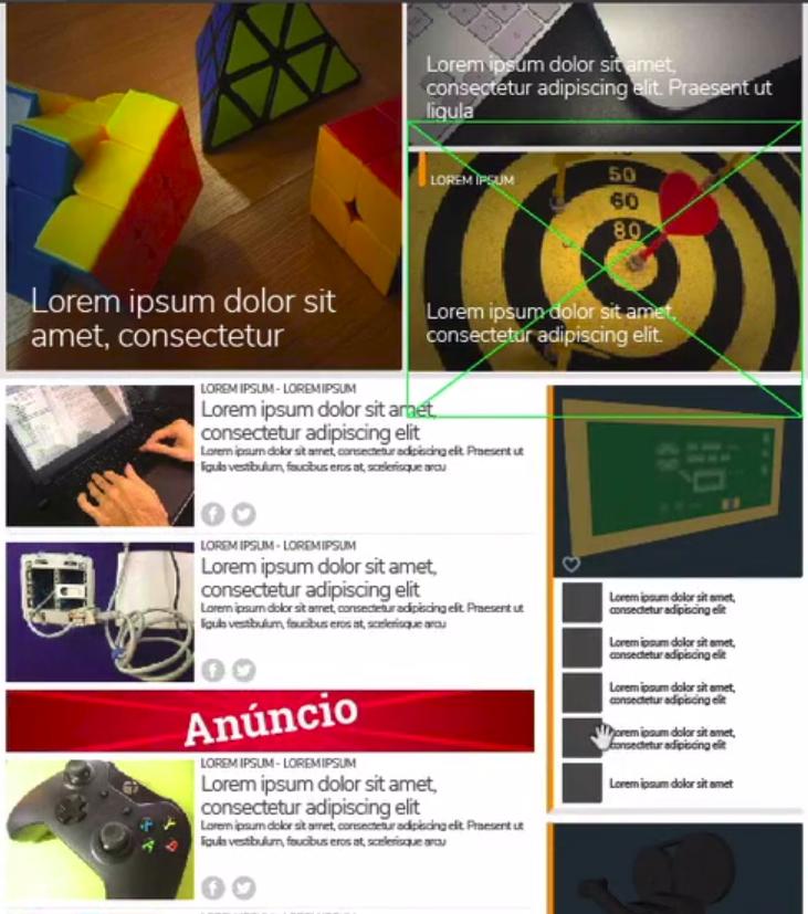 página inicial com várias imagens