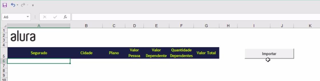 Botão para importar dados de outras tabelas