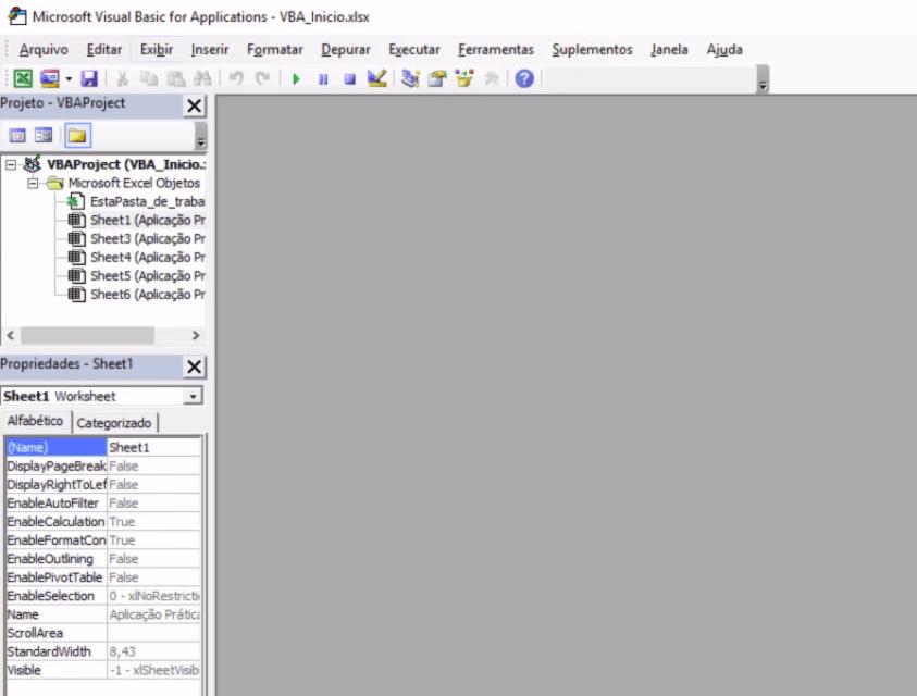 Editor do Visual Basic que foi aberto