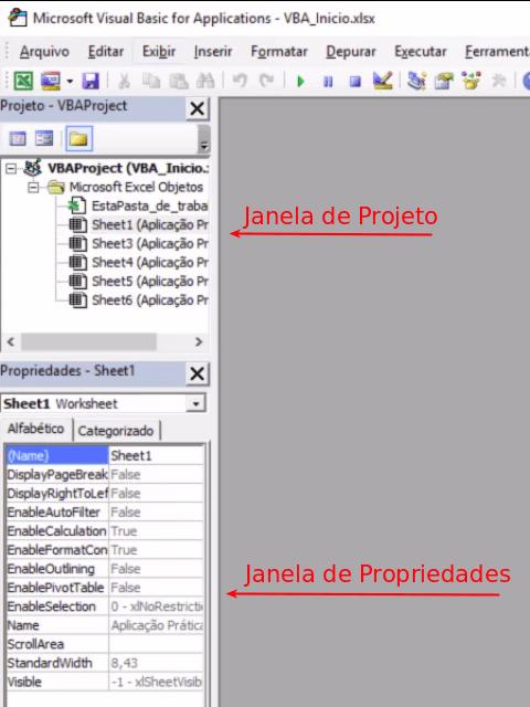 Janelas de projeto e de propriedades