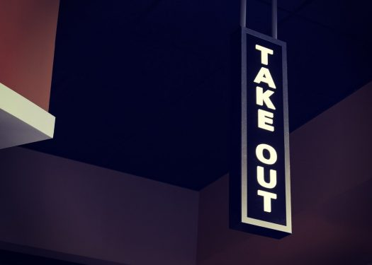 Take out sign at restaurant, online ordering restaurant industry