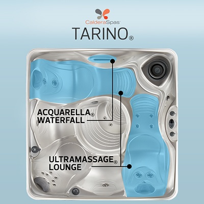 an overhead view of the Vacanza Tarino model hot tub with Acquarella Waterfall and Ultramassage jetted lounge seat