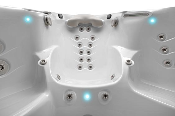 close up of the full body hot tub seat massage jet design