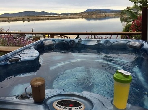 A customer image of their Caldera hot tub in their own rural back yard