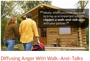 A couple learns to diffuse anger by discussion while walking