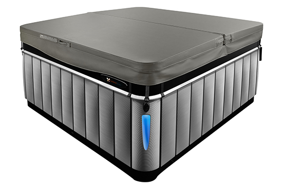 a close-up image of the Caldera Utopia series hot tub with an energy efficient hot tub cover