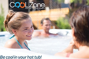 a family enjoys a cold water hot tub during the summer