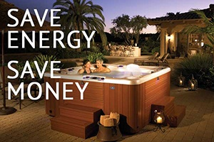 a couple contemplating how much money they can save with a energy efficient hot tub