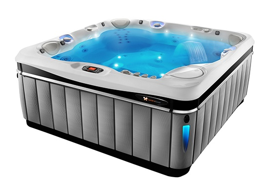 An image of the Utopia Tahitian demonstrating LED lighting effects both inside and outside your hot tub