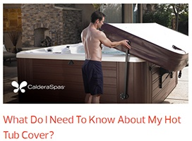 a man operates and opens his hot tub with a hot tub cover lifter