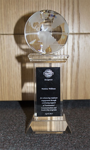 Watkins Wellness President Steve Hammock accepted the Corporate Recognition Award from Toastmasters International during a May ceremony at the company's Vista, California headquarters