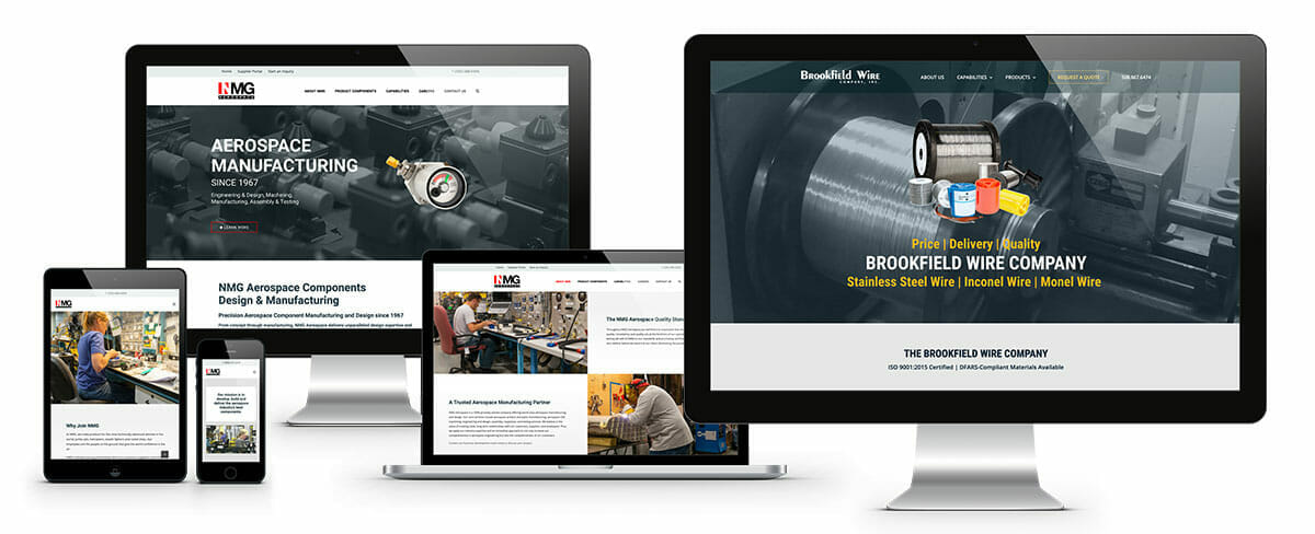 ADVAN Manufacturing SEO and Web Design examples on desktop, laptop, and mobile.