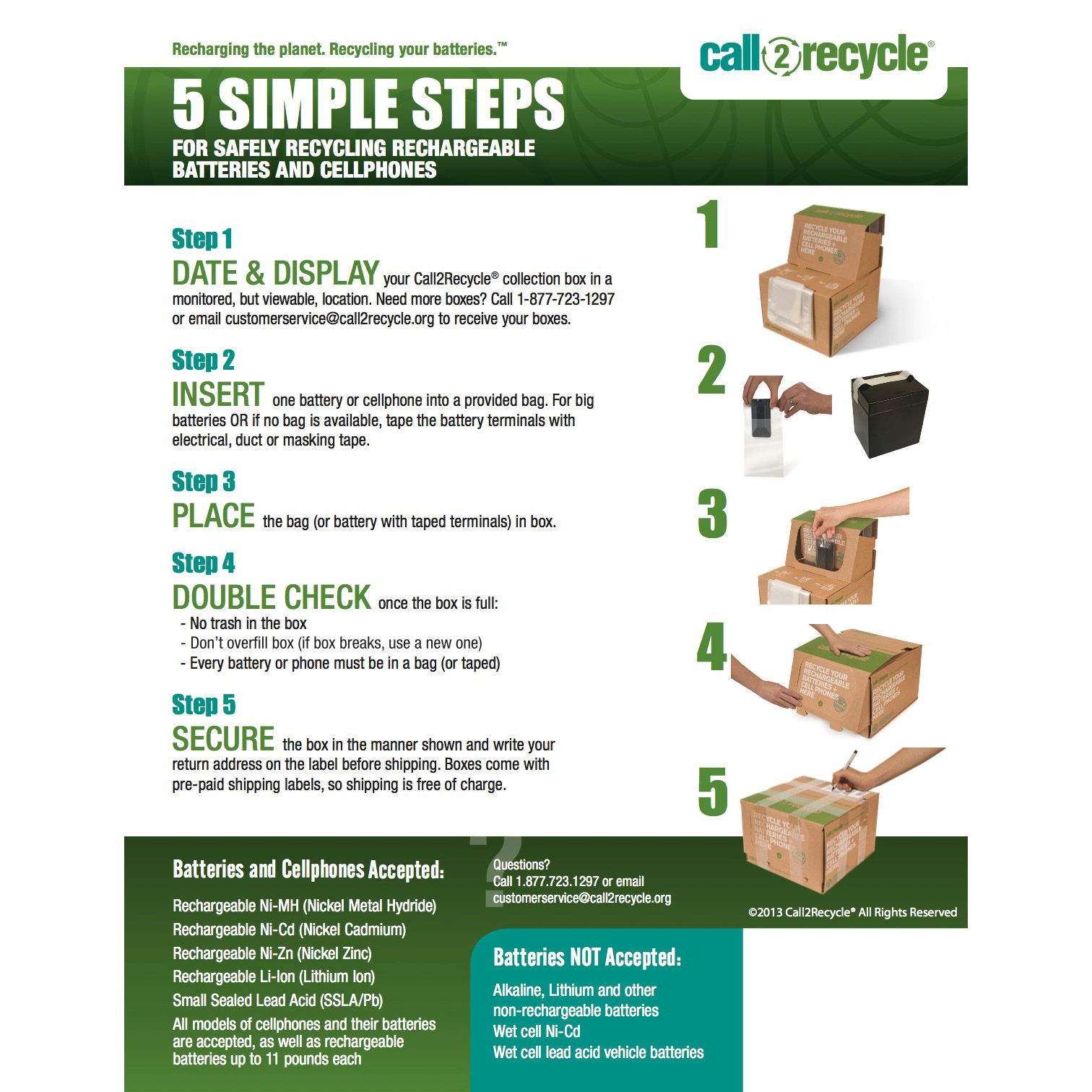 Posters Call2recycle Canada Nonrechargeble Battery Diagram Poster 5 Step Instructional