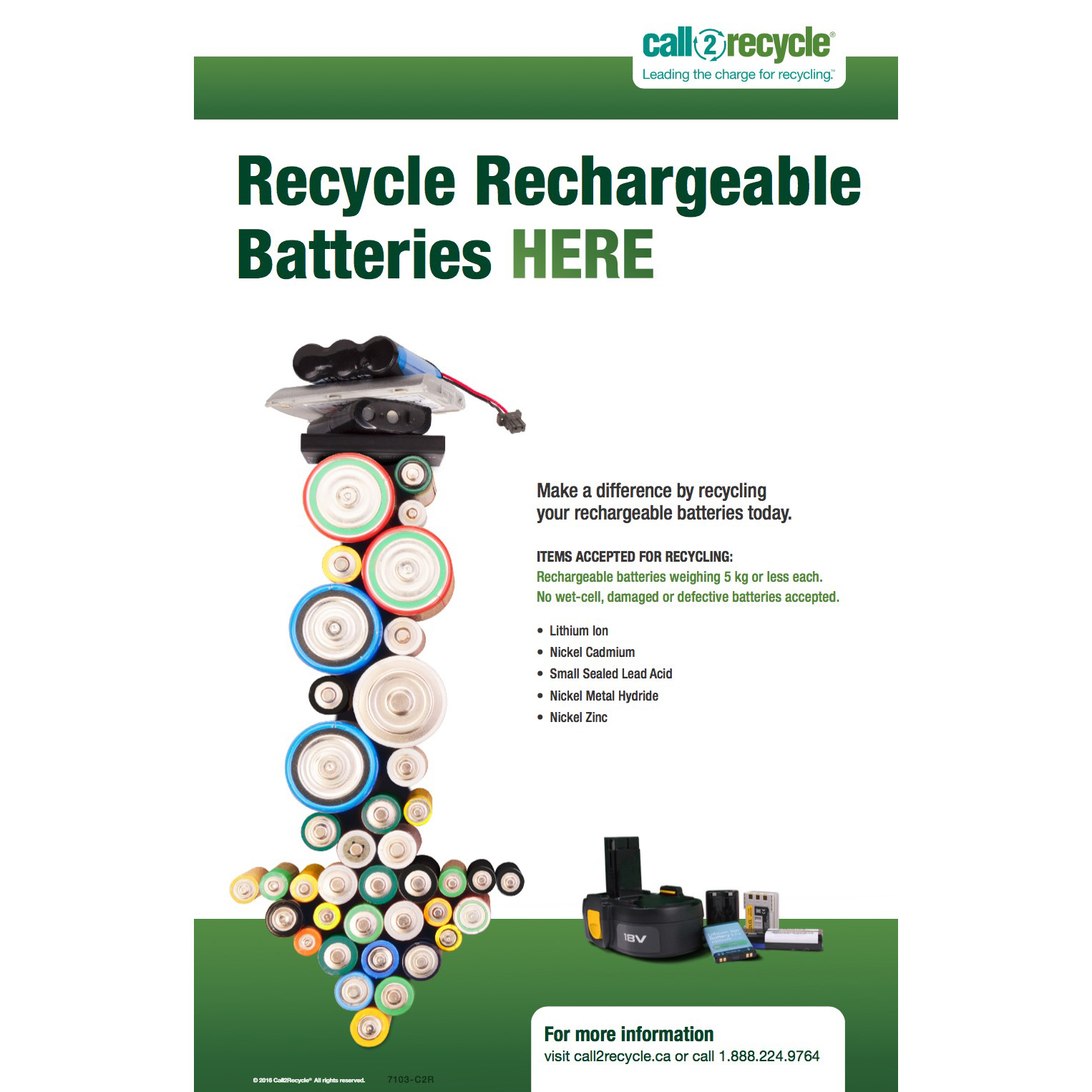 Posters Call2recycle Canada Nonrechargeble Battery Diagram Rechargeable Collection Poster