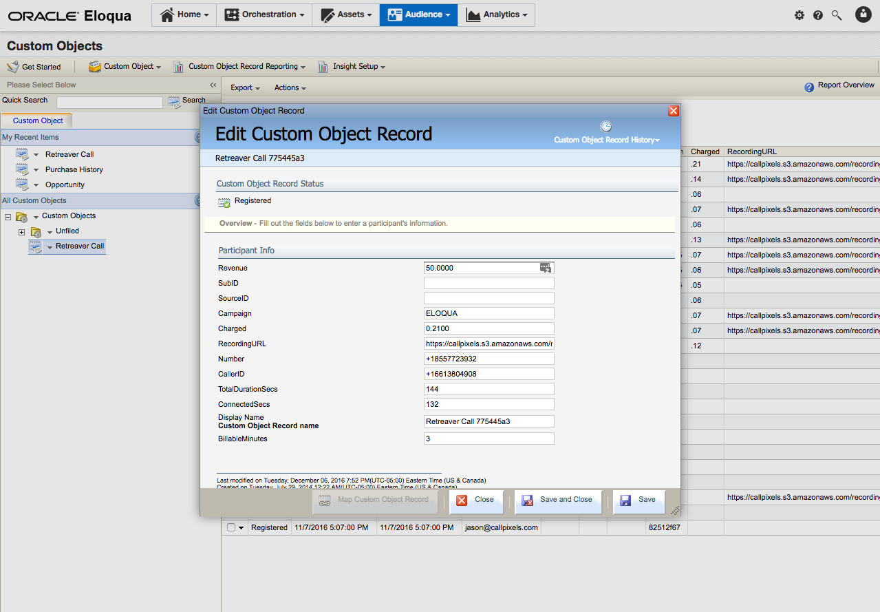 A custom object record that has been mapped to an Eloqua contact.