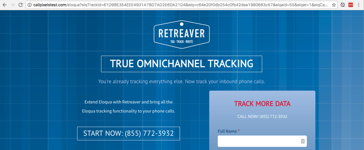 Our live Eloqua landing page with call tracking configured.