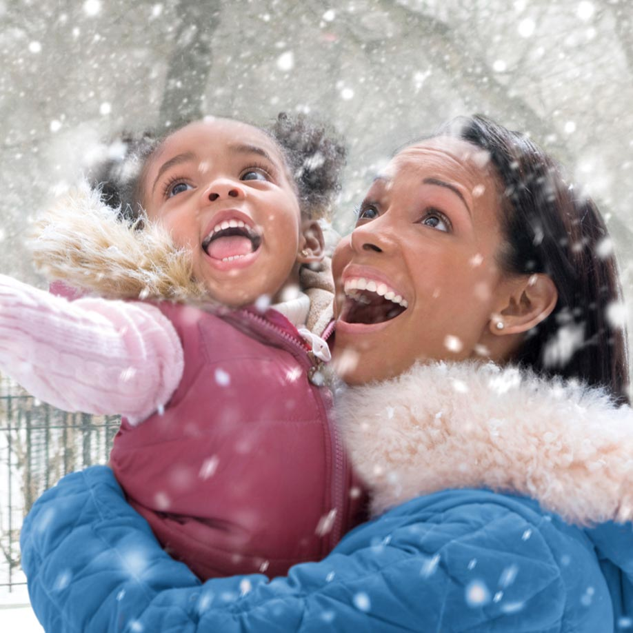 Image of Woman and Child in the Snow