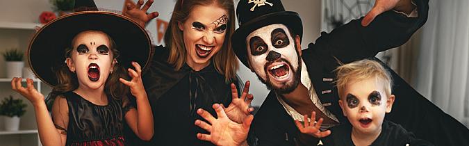 Family in Halloween makeup